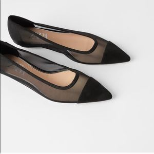 Zara Black Ballet Pointy Mesh Flats size 9